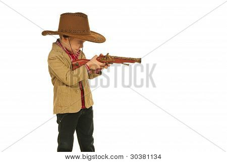 Little Cowboy Shooting With Gun Toy