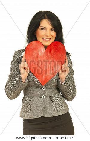 Business Woman Rest Face In Heart