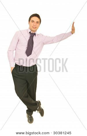 Business Man Leaning On Copy