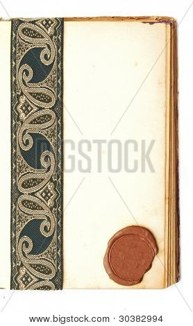blank page open book with seal wax and antique ribbon on white background