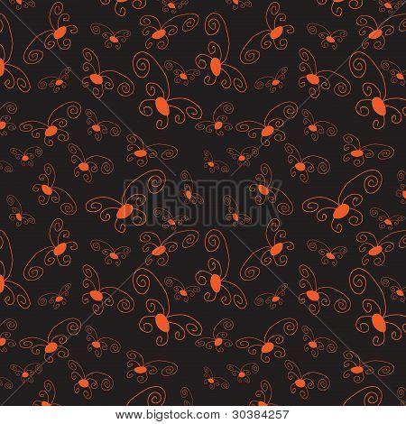 Dark Seamless Background With Orange Elements