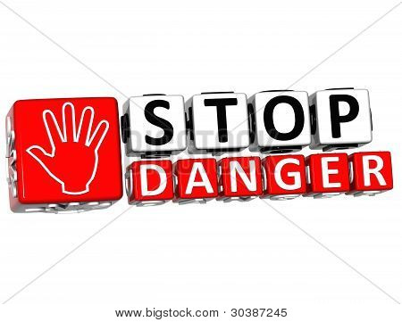 3D Stop Danger Hand Block Text