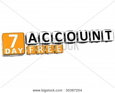 3D Get 7 Day Account Free Block Letters