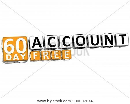 3D Get 60 Day Account Free Block Letters