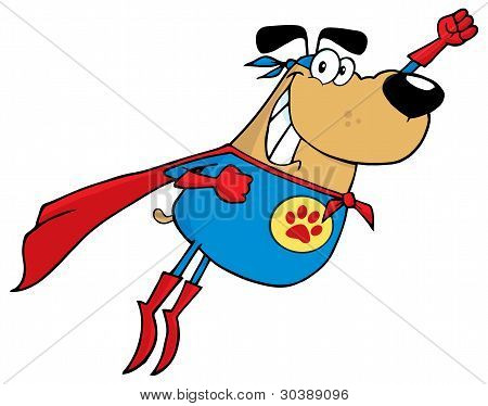 Brown Super Hero Dog Flying