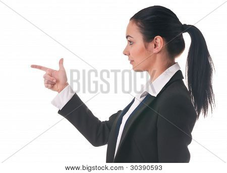 Woman Manager Shows The Direction Of Finger