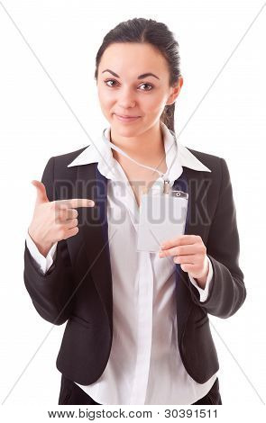 Executive Employee Shows Her Badge