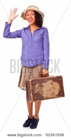 Easy Latin American Girl Travels. Retro.