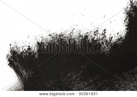 High magnification brush stroke texture. Black paint, isolated on white.