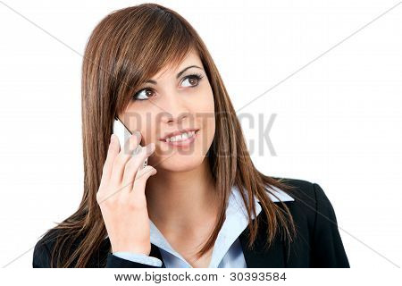 Close Up Of Young Woman Talking On Cell Phone.