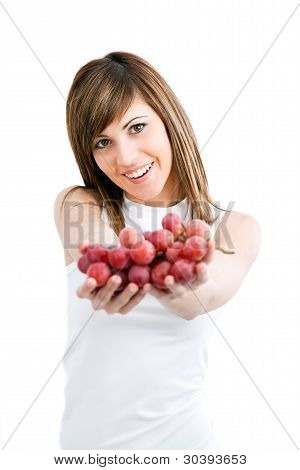 Healthy Young Woman Holding Grapes.