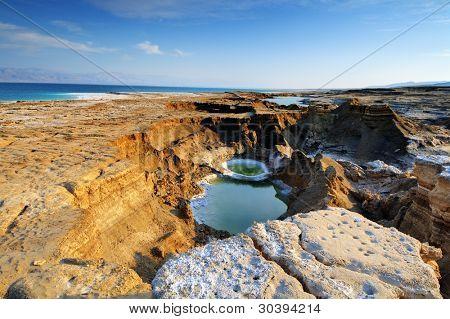 Sink Holes near the Dead Sea in Ein Gedi, Israel.