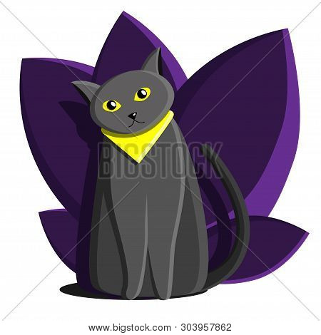 poster of Cat British Gray Blue. With Yellow Eyes. Cat Traveler. Flat Cartoon Illustration. Cat With Plants An