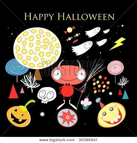Greeting card with Halloween