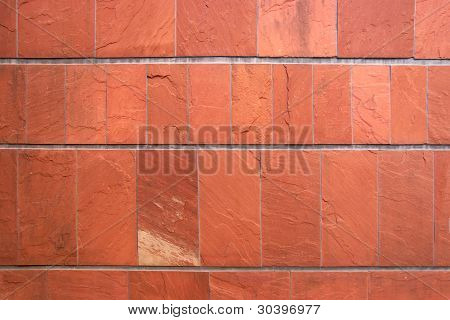 Close Up Of Terracotta Tiling Stone Wall