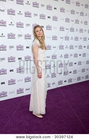 LOS ANGELES - FEB 25:  Brit Marling arrives at the 2012 Film Independent Spirit Awards at the Beach on February 25, 2012 in Santa Monica, CA
