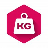 White Weight Icon Isolated With Long Shadow. Kilogram Weight Block For Weight Lifting And Scale. Mas poster