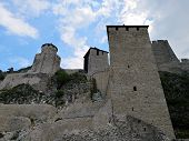 Golubac Fortress In Serbia On The Danube Shore.  Golubac Fortress - Was A Medieval Fortified Town On poster