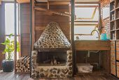 Fireplace And Sink In Country Loft Interior Design Room. Interior Design Room Include Glass Shelf An poster