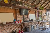 Interior Design Room With Props In Country Loft Style. Interior Design Room Include Television And P poster