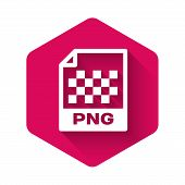 White Png File Document Icon. Download Png Button Icon Isolated With Long Shadow. Png File Symbol. P poster