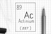 The Periodic Table Of Elements. Handwriting Chemical Element Actinium Ac With Black Pen, Test Tube A poster