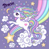 Cartoon Unicorn. White, Rainbow Unicorn With A Long Mane. On A Lilac Background. Vector poster