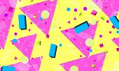 Abstract Fun Background. Memphis Hipster Style 80s-90s. Pop Art Color Background. Funky Abstract Pat poster