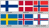 Simple Flags Of Scandinavia.nordic Countries. Correct Size, Proportion Colors poster