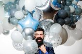 Happy Bearded Man With Balloons. Happy Man Celebrating. Happy Birthday. Balloon Party. Smiling Man W poster