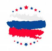 Happy Russia Day Template Banner For Text. Vector Tricolor Poster, Gift Card Of Russia Day Holiday.  poster