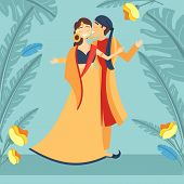 Indian Wedding, Image With Bride, Groom Wearing Traditional Dress, Engaging In Local Customs. Vector poster