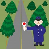 foto of infraction law  - The elderly policeman stops infringers on road - JPG