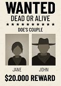 Old Wanted Dead Or Alive Poster With Flat Male And Female Avatars. poster