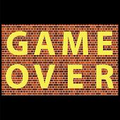 Retro Pixel Game Over Sign On Brick Background. Gaming Concept. Video Game Screen. poster