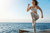 Motivated Happy Sporty Woman Wearing Sports Bra, Sneakers Enjoying Excercise, Training Outdoors Near poster