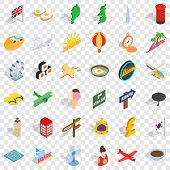 Voyage Icons Set. Isometric Style Of 36 Voyage Vector Icons For Web For Any Design poster