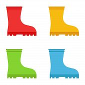 Set Of Rubber Boots. Multicolored Rubber Boots. Vector Illustration Isolated On White Background. Ep poster