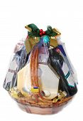 stock photo of gift basket  - a nicely decorated gift hamper of wines and chocolates - JPG