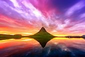 Gorgeous landscape with Kirkjufell mountain and colorful sunset sky on Snaefellsnes peninsula near,  poster