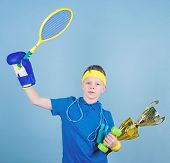 Success In Sport. Succeed In Everything. Athlete Successful Boy Sport Equipment Jump Rope Boxing Glo poster