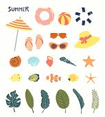 Big Summer Set With Pool Floats, Seashells, Starfish, Fish, Palm Leaves. Hand Drawn Vector Illustrat poster