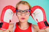 Strong Mentally And Physically. Smart And Strong. Woman Boxing Gloves Adjust Eyeglasses. Win With St poster