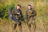 Friendship Of Men Hunters. Man Hunters With Rifle Gun. Boot Camp. Military Uniform Fashion. Army For poster