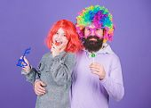 We Deserve A Celebration. Happy Family Celebrating Birthday. Father And Daughter In Party Style Wigs poster