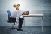 Employee losing energy from too much work poster