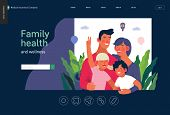 Medical Insurance Template -family Health And Wellness -modern Flat Vector Concept Digital Illustrat poster