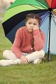 Ways Brighten Your Fall Mood. Colorful Accessory For Cheerful Mood. Girl Child Long Hair Sad Because poster