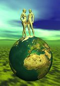 foto of adam eve  - Adam and Eve with leaf upon the earth - JPG