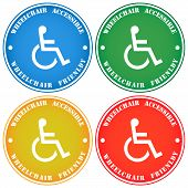 Disabled Person Wheelchair Accessibility Sticker Note, Various Colors poster